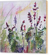 Basil Culinary Herb Watercolor Wood Print