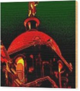 Basilica Of The Little Flower, Dome With Green Sky Wood Print