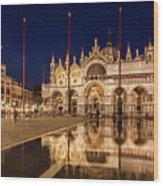 Basilica San Marco Reflections At Night - Venice, Italy Wood Print