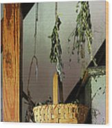 Basket And Drying Herbs Wood Print