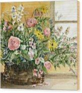 Basket Bouquet Wood Print