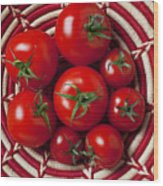 Basket Full Of Red Tomatoes  Wood Print