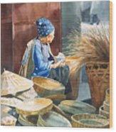 Basket Maker Wood Print by Sharon Freeman