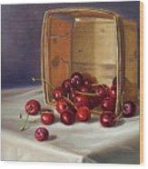 Basket Of Cherries Wood Print