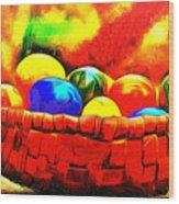 Basket Of Eggs - Da Wood Print