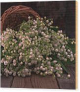 Basket Of Fresh Lily Of The Valley Flowers Wood Print