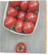 Basket Of Fresh Red Tomatoes Wood Print