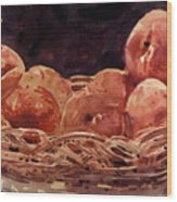 Basket Of Peaches Wood Print