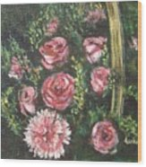Basket Of Pink Flowers Wood Print
