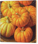 Basket Of Pumpkins Wood Print