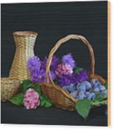 Basket With Astern Wood Print