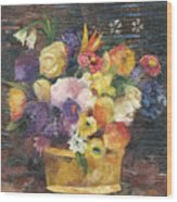 Basket with Flowers Wood Print