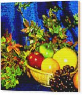 Basket With Fruit Wood Print