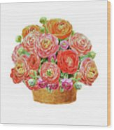 Basket With Ranunculus Flowers Watercolor Wood Print