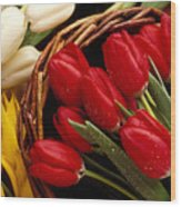 Basket With Tulips Wood Print