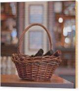 Basket With Wine Bottles Wood Print