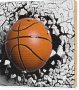 Basketball Ball Breaking Forcibly Through A White Wall. 3d Illustration. Wood Print