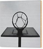 Basketball Hoop Wood Print by Christoph Hetzmannseder
