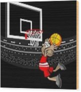 Basketball Player Jumping In The Stadium And Flying To Shoot The Ball In The Hoop Wood Print