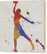 Basketball Player Paint Splatter Wood Print