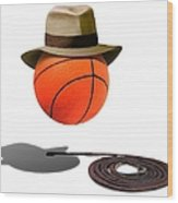 Basketball With Fedora Wood Print