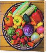 Basketful Of Fresh Vegetables Wood Print