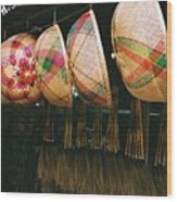 Baskets And Brooms Wood Print