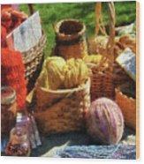 Baskets Of Yarn At Flea Market Wood Print