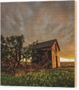 Basking In The Glow - Old Barn At Sunset In Oklahoma Panhandle Wood Print