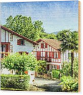 Basque Houses In Ainhoa 2- Vintage Version Wood Print