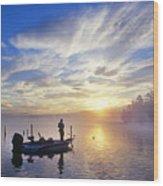 Bass Fisherman At Dawn, Oregon Cascades Wood Print