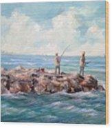 Bass Fishing Off Newport Wood Print