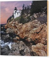 Bass Harbor Head Lighthouse In Maine Wood Print