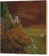 Bass Harbor Light Mt Desert Maine Wood Print