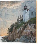 Bass Harbor Lighthouse On Maine Nautical Chart Wood Print