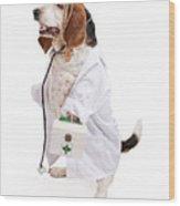 Basset Hound Dog Dressed As A Veterinarian Wood Print