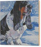 Basset Hound In Snow Wood Print