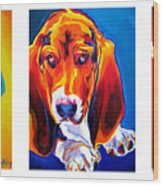 Basset Trio Wood Print by Alicia VanNoy Call