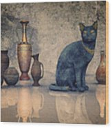 Bastet And Pottery Wood Print