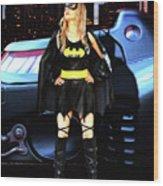 Bat Gal In The City Wood Print