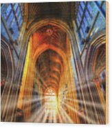 Bath Abbey Sun Rays Wood Print