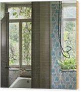 Bath Room Windows -urban Exploration Wood Print