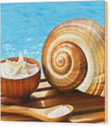 Bath Salts And Sea Shell By The Pool Wood Print by Sandra Cunningham