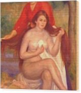 Bather And Maid The Toilet Wood Print