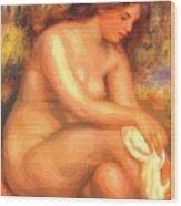 Bather Drying Her Leg Wood Print