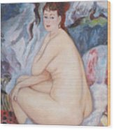Bather  My Reproduction Of Renoirs Work Wood Print
