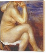 Bather With A Rock Wood Print