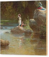Bathers At The River. Evening In Orinoco? Wood Print