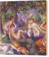 Bathers In The Forest Wood Print