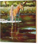 Bathing Wood Print